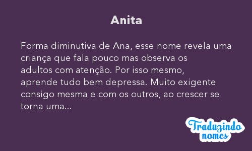 Significado do nome Anita