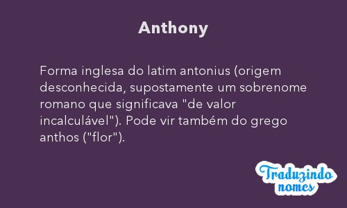 Significado do nome Anthony