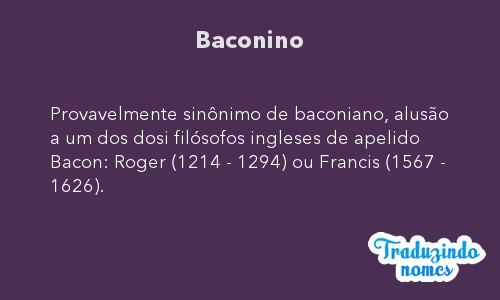 Significado do nome Baconino