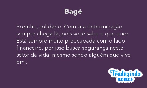 Significado do nome Bagé