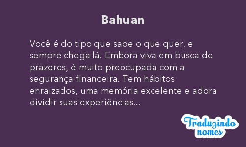Significado do nome Bahuan