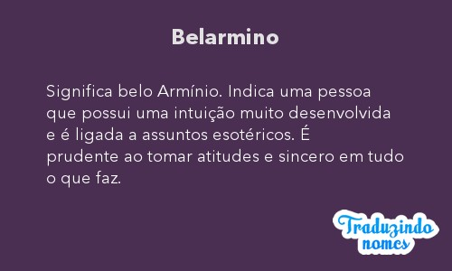 Significado do nome Belarmino