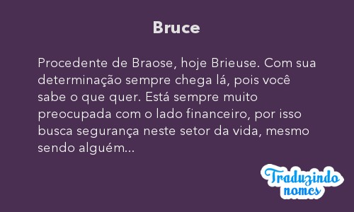Significado do nome Bruce