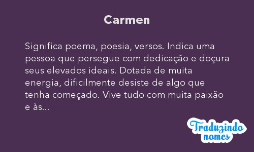 Significado do nome Carmen