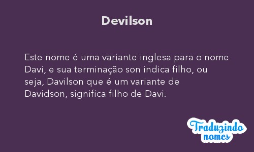 Significado do nome Devilson