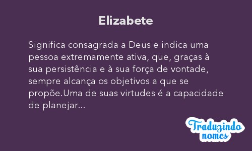 Significado do nome Elizabete