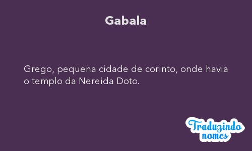 Significado do nome Gabala