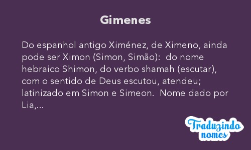 Significado do nome Gimenes