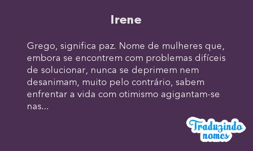 Significado do nome Irene