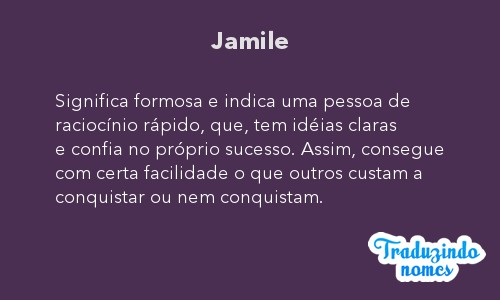 Significado do nome Jamile