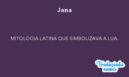 Significado do nome Jana