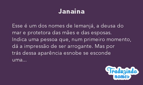 Significado do nome Janaina
