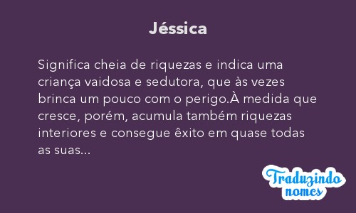 Significado do nome Jéssica