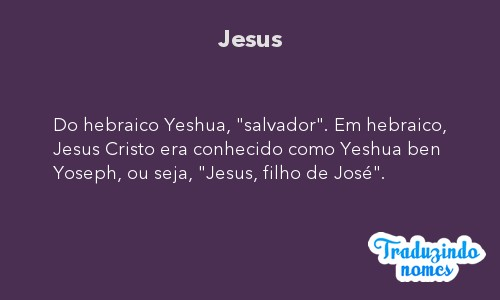 Significado do nome Jesus