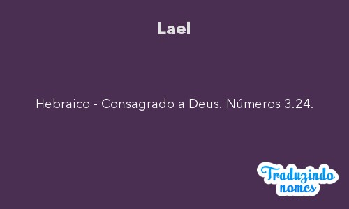 Significado do nome Lael