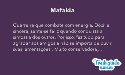Significado do nome Mafalda