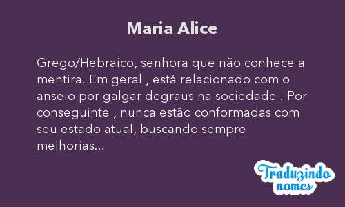 Significado do nome Maria Alice