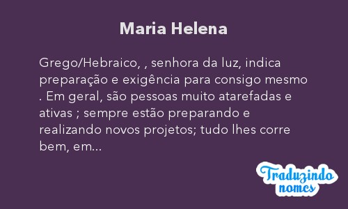 Significado do nome Maria Helena