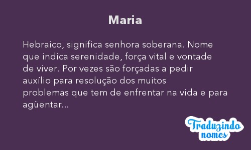 Significado do nome Maria