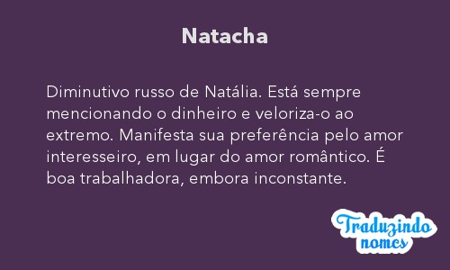 Significado do nome Natacha