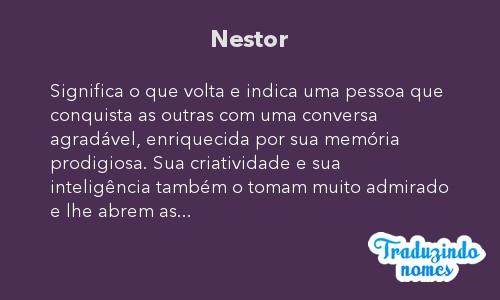 Significado do nome Nestor