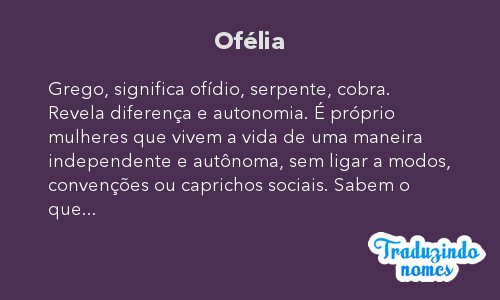Significado do nome Ofélia