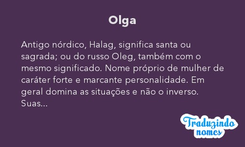 Significado do nome Olga