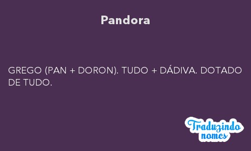 Significado do nome Pandora