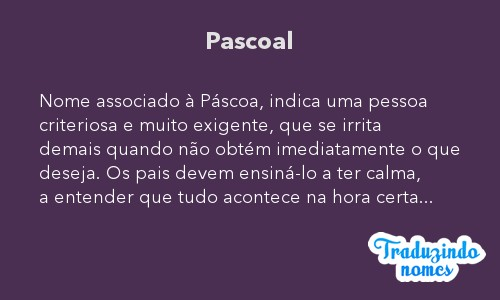 Significado do nome Pascoal
