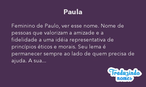 Significado do nome Paula