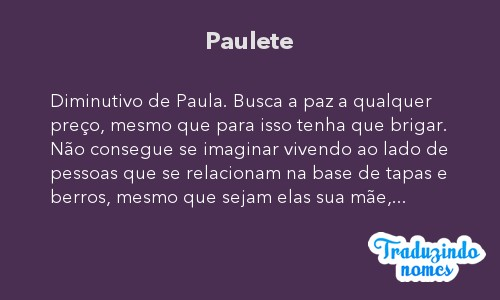 Significado do nome Paulete