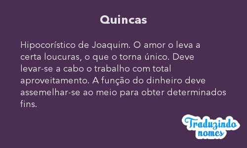 Significado do nome Quincas