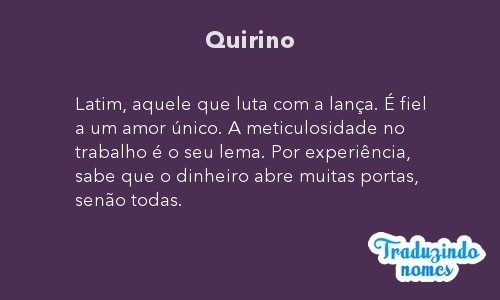 Significado do nome Quirino