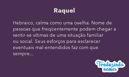 Significado do nome Raquel