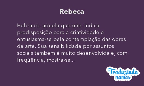 Significado do nome Rebeca