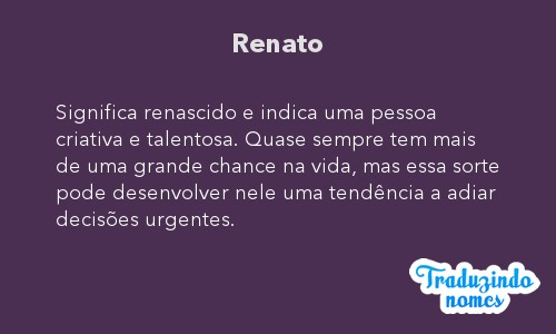 Significado do nome Renato