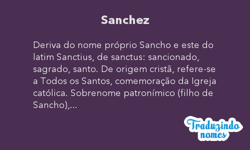 Significado do nome Sanchez