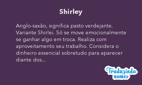 Significado do nome Shirley