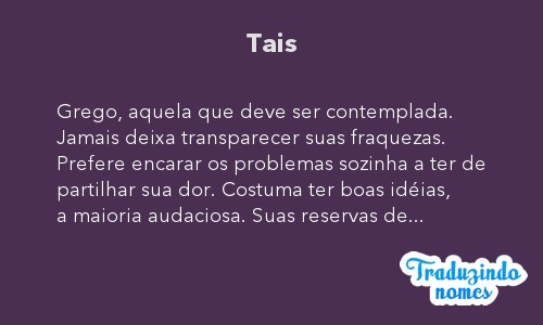 Significado do nome Tais