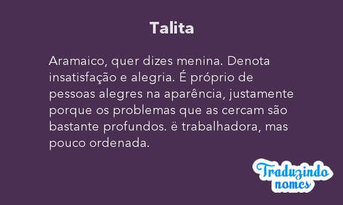 Significado do nome Talita