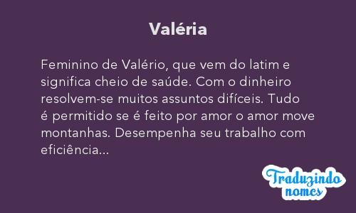 Significado do nome Valéria