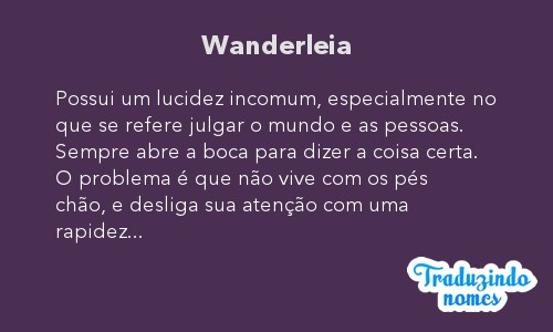 Significado do nome Wanderleia