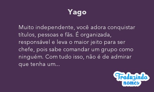 Significado do nome Yago